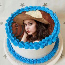 Blue Floral Photo Cake